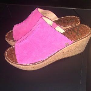 SAM EDELMAN Platform Sandal Slides in Pink Suede